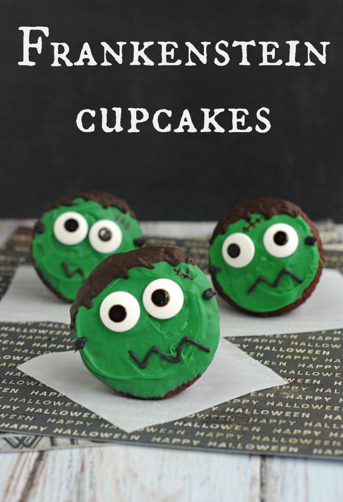 Frankenstein Cupcakes Halloween Crafts, Costumes and Recipes - how to decorate cupcakes for halloween