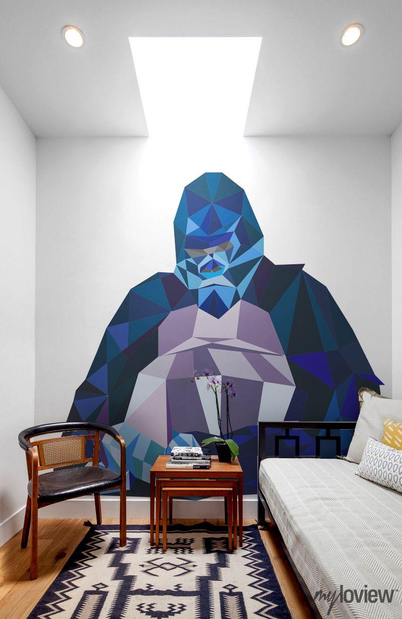 geometric gorilla wall mural by myloview geometric animals geometric gorilla wall mural by myloview