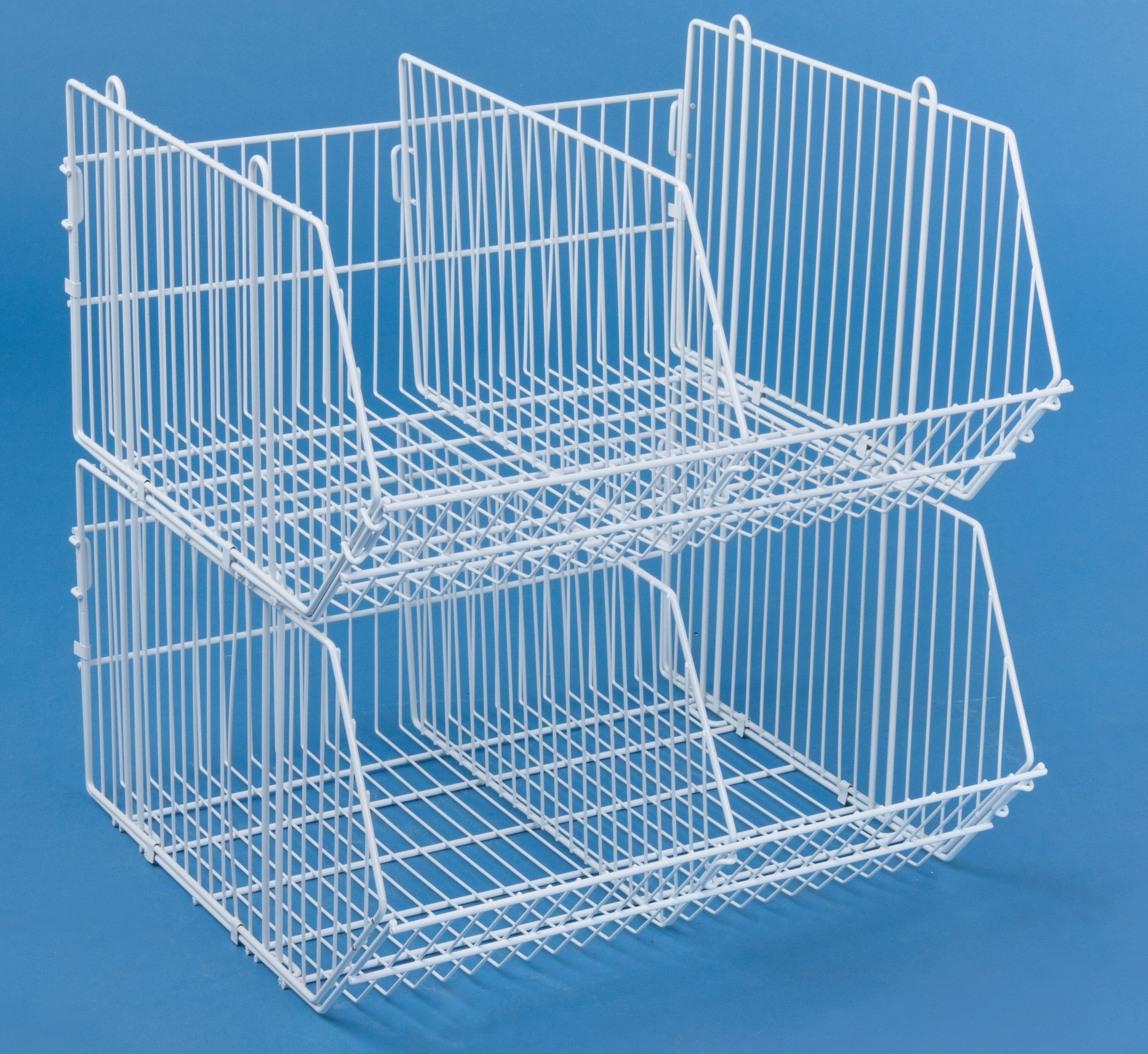 Tiered Wire Dump Bin w/ Removable Dividers, 2 Compartments - White ...