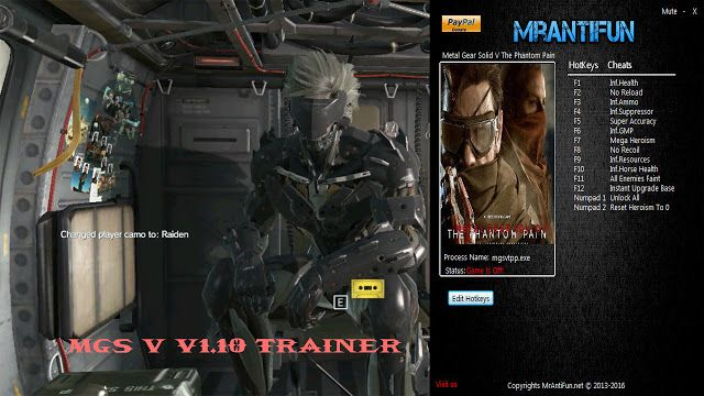 metal gear solid v phantom pain trainer