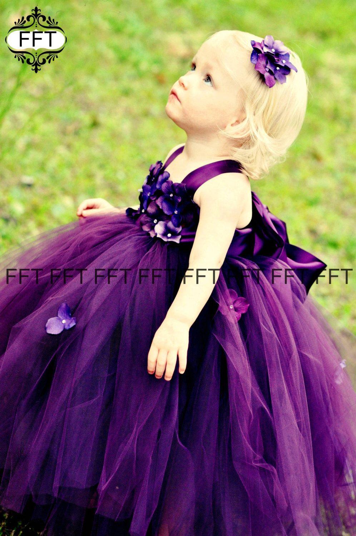 Plum eggplant flower girl dress etsy purple flower