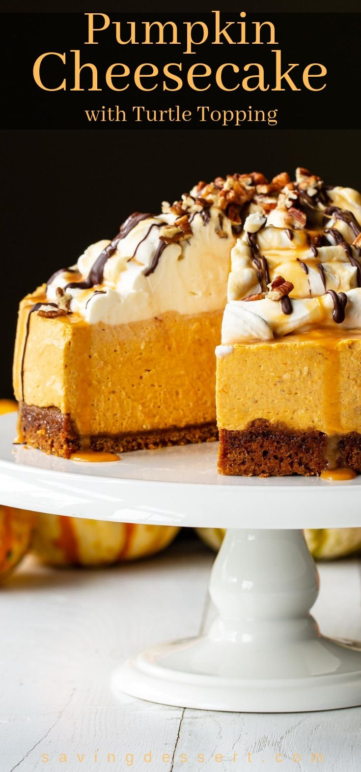 Pumpkin Cheesecake with Turtle Topping - Saving Room for Dessert