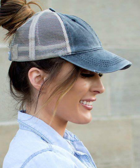b1e99feb69231 Ailis Corner Black Distressed Top Knot Trucker Hat