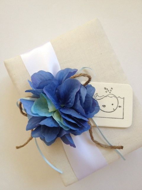 Hand Stamped Nautical Baby Boy Photo Album - Blue Hydrangeas, Hand Stamped Wood Tag with Whale - by CoutureLife on Etsy, $38.99