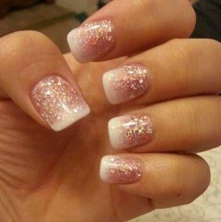 37 ideas nails french white glitter valentines day nails