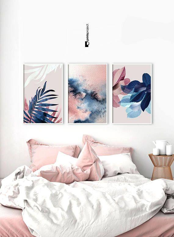 Set Of 3 Wall Art Botanical Prints Navy Blue Leaf Blush Etsy In 2021 Blush Pink Decor Pink Decor Bedroom Decor