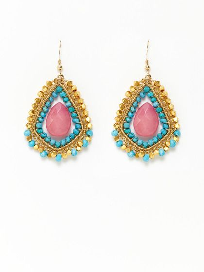 Harper Turquoise & Hot Pink Quartz Earrings by KEP on Gilt