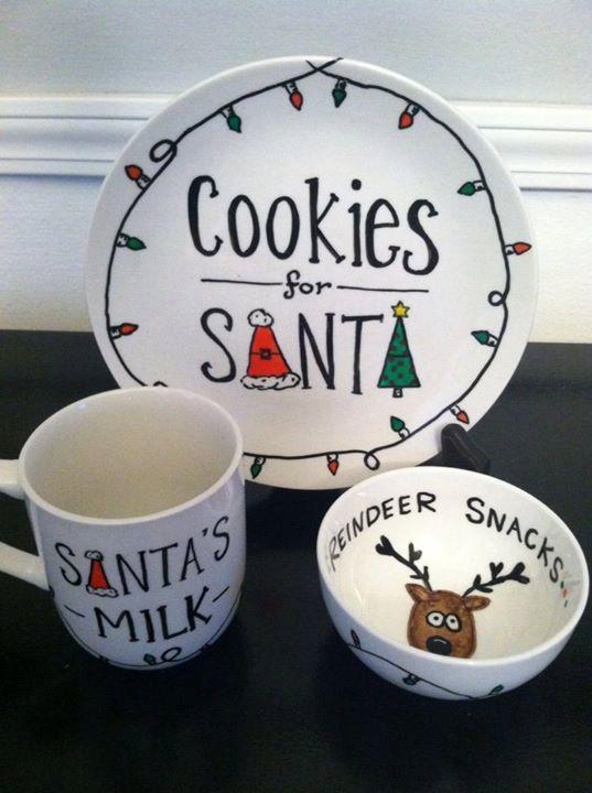 Santa cookie plate milk mug and reindeer snacks! Sooooo cute!!!! Love these! & Santau0027s Cookies and Milk Set Hand Painted Santau0027s Cookie Plate ...