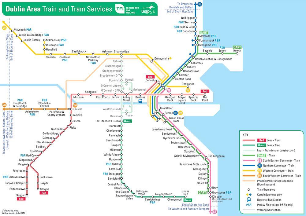 Dublin Area Train And Tram Map Dublin Ireland Map Map