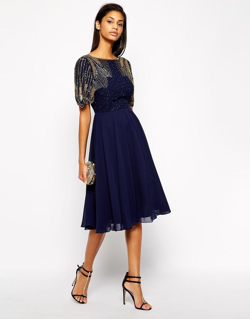 Virgos Lounge Virgos Lounge Lena Midi Prom Dress With Embellishment At Asos Winter Hochzeits Outfits Kleider Kleiderstile