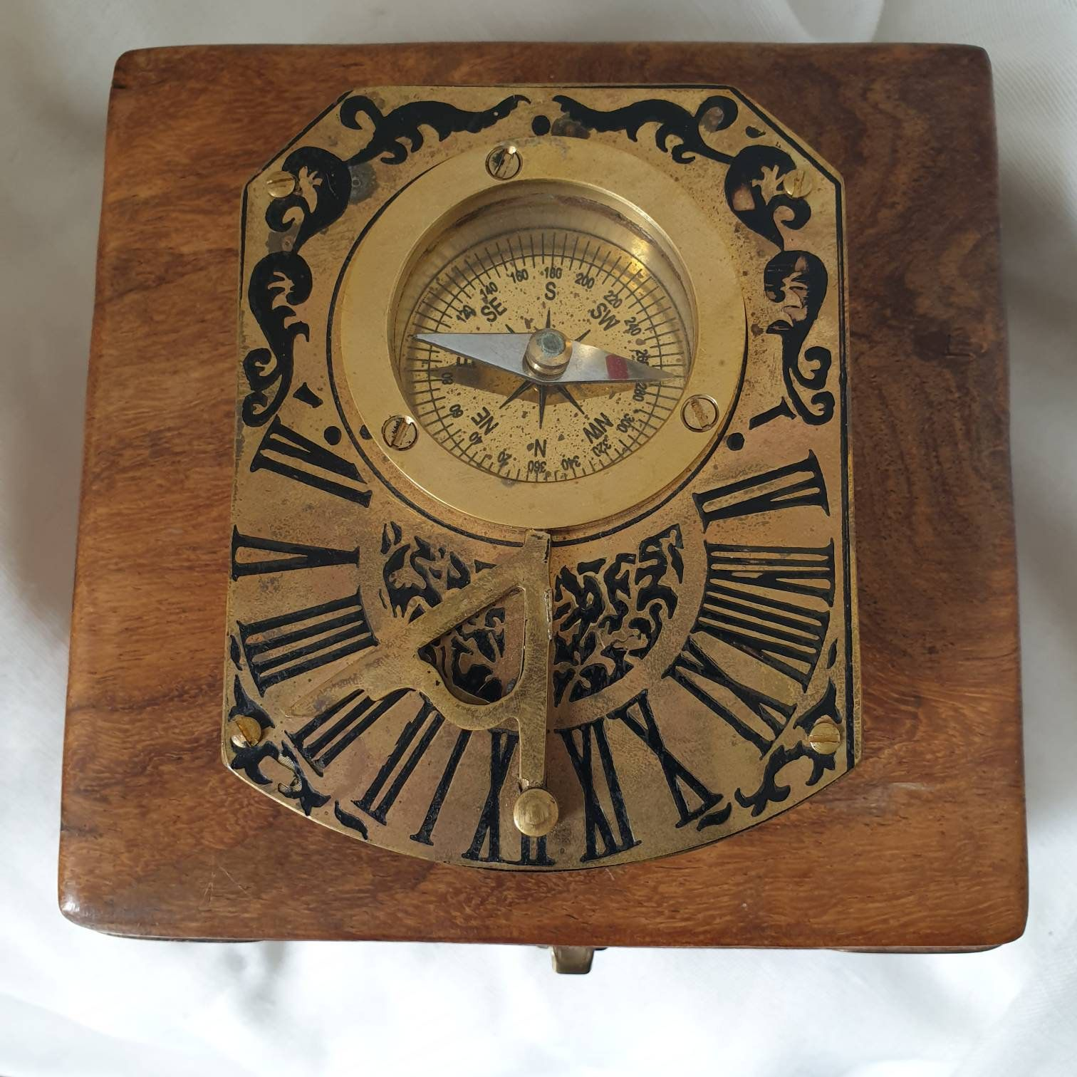 Antique Brass Sundial Compass With Antique Box Antique Etsy In 2020 Antique Boxes Antique Wooden Boxes Antiques