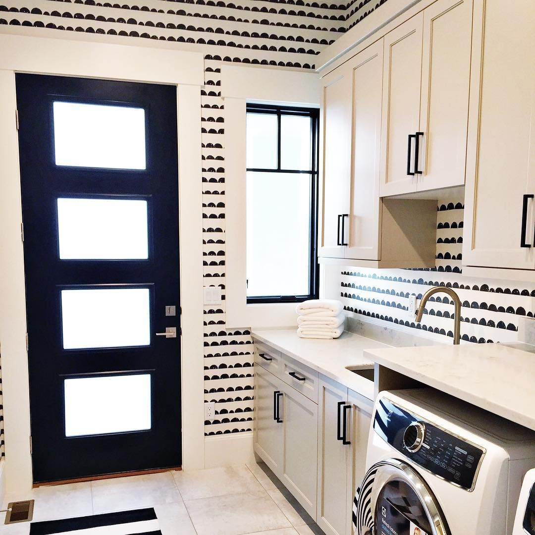 Love This Black White Laundry Room This Is What Wallpaper Dreams Are Made Of Laundry Room Wallpaper White Laundry Rooms Laundry Room Design