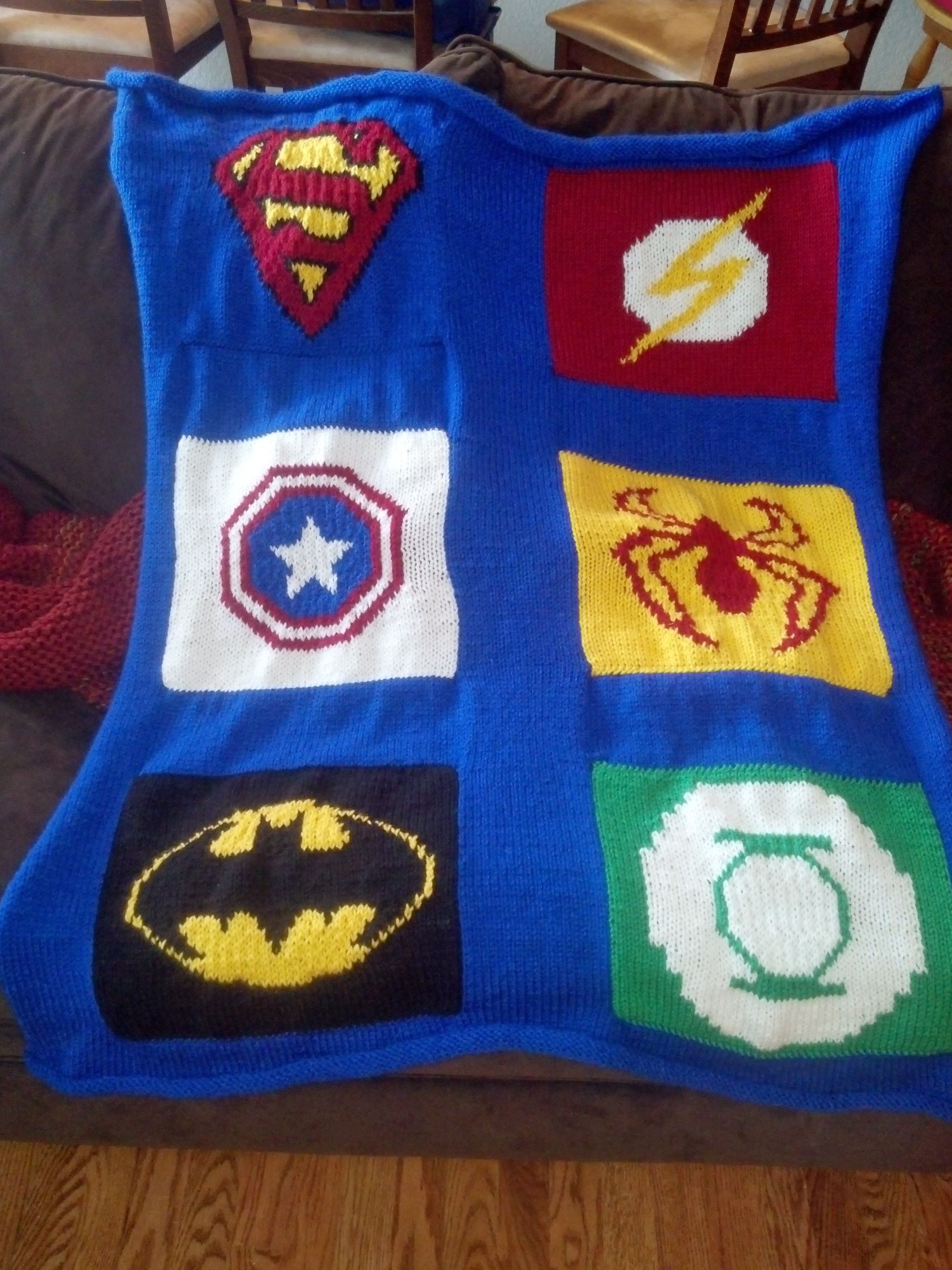 Knit Blanket made from superhero patterns