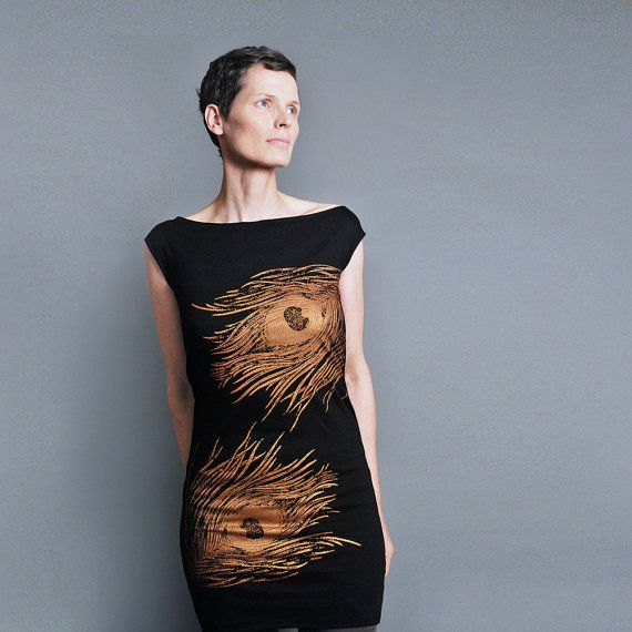 SAMPLE Sale - LARGE - Peacock Dress - Black T shirt Dress - Metallic ...