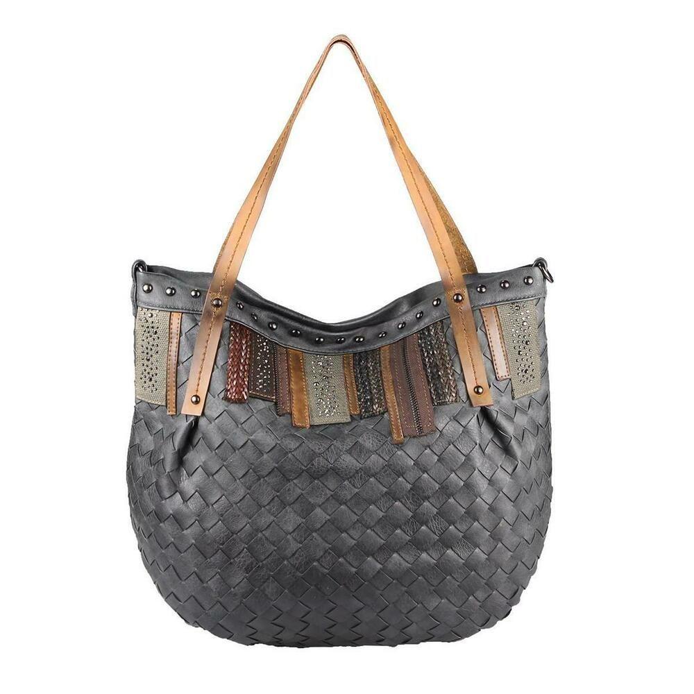 Photo of DAMEN TASCHE Geflochten Shopper Handtasche Leder Optik Schultertasche Tote Bag  | eBay