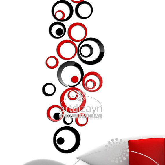 decorative wall decor red and black circle by walldecal76 on Etsy, $35.00