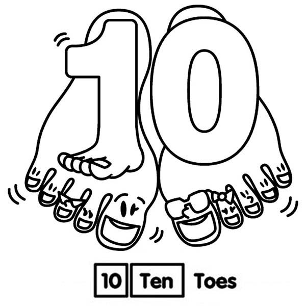 Learn Number 10 With Ten Toes Coloring Page Bulk Color Free Coloring Pages Coloring Pages Coloring Pages Inspirational