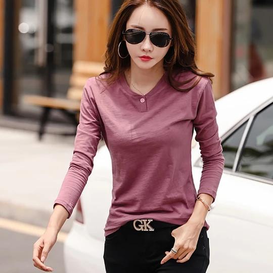 Shintimes Vetement Femme 2018 New Long Sleeve Shirt Women T-Shirt Bamboo Cotton Korean Woman Tshirt Top Vogue Camiseta Feminina