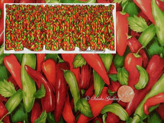 Chili Pepper Curtains | Red Hot Chili Peppers, Salsa, Mexican, Green, Orange