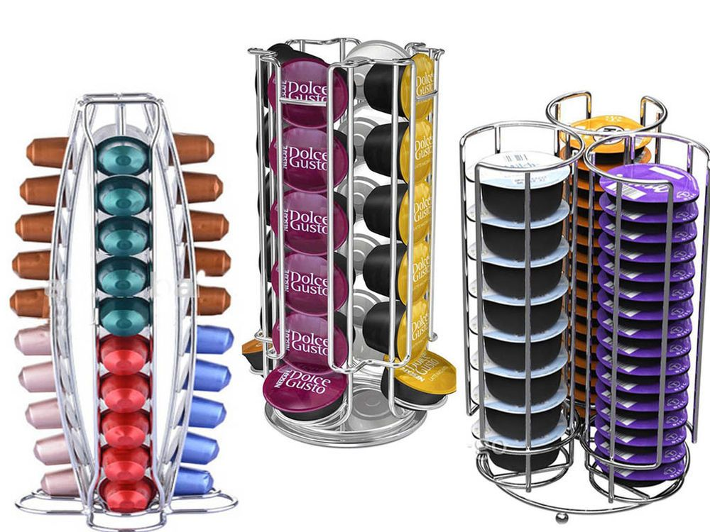 REVOLVING 32 DOLCE GUSTO  NESPRESSO COFFEE POD STAND HOLDER 4 LATTE GLASSES