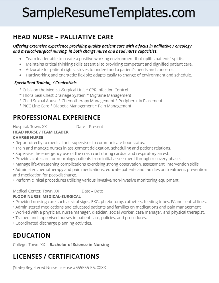 Palliative Care Head Nurse Resume  Resumes  Tips Pins