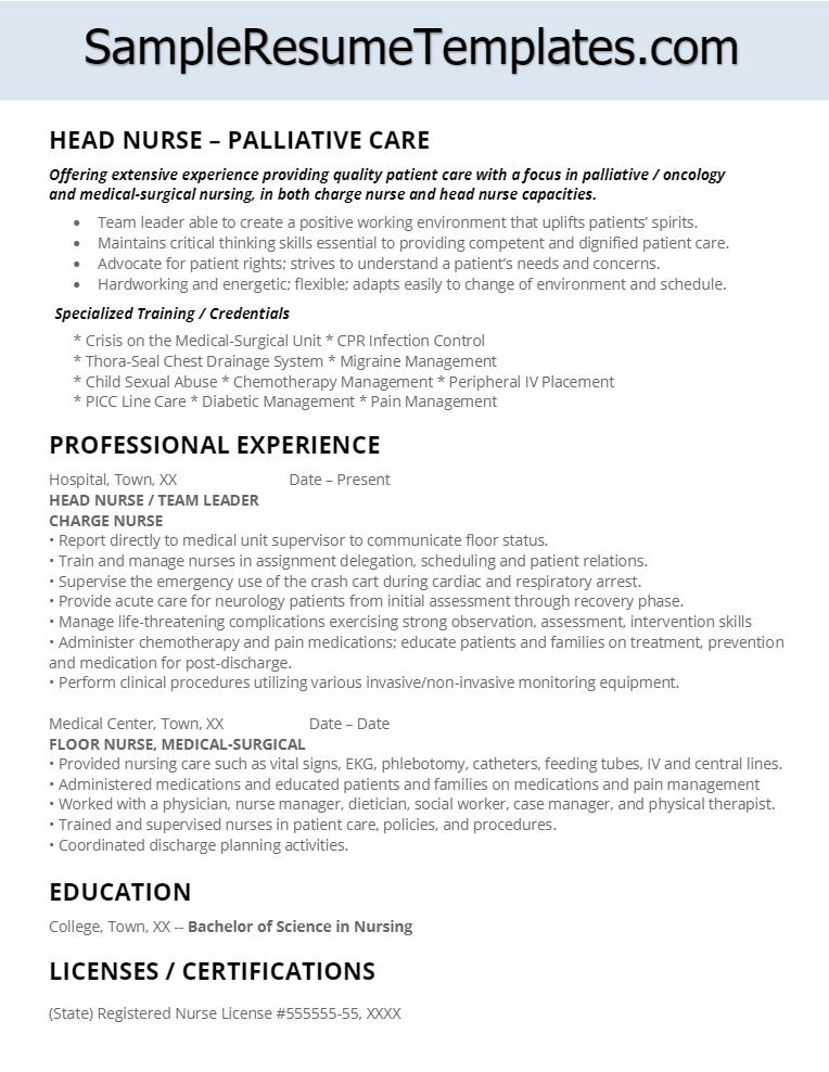 Palliative Care Head Nurse Resume Nursing resume, Charge