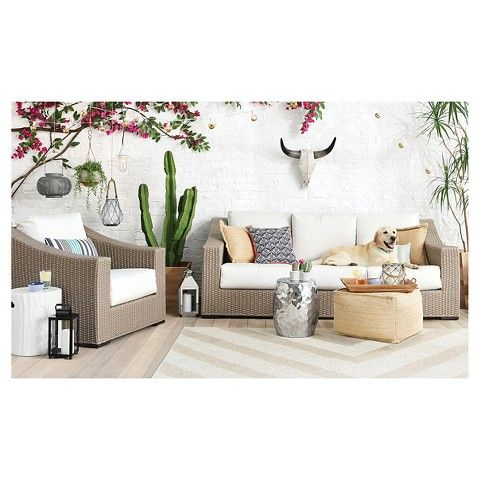 Premium Edgewood Wicker Patio Sofa   Smith U0026 Hawken