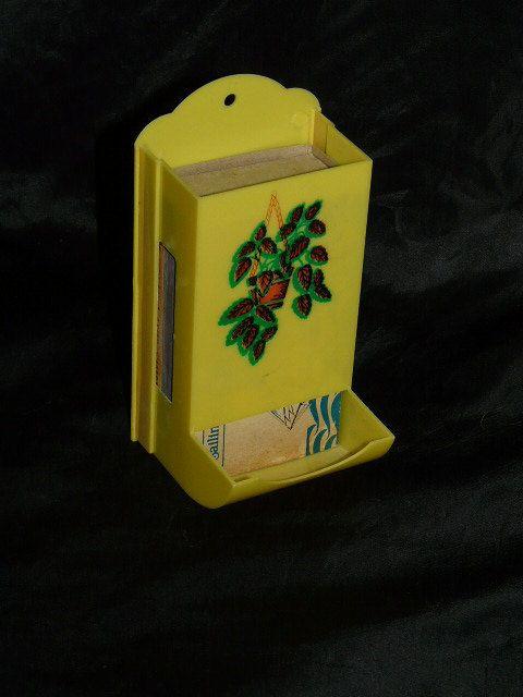 Vintage Bright Yellow Plastic Match Box Holder Fireplace Smoking ...