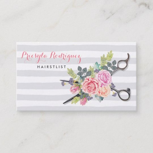 Chic Silver Scissors Hairstylist Stripes and Roses ...