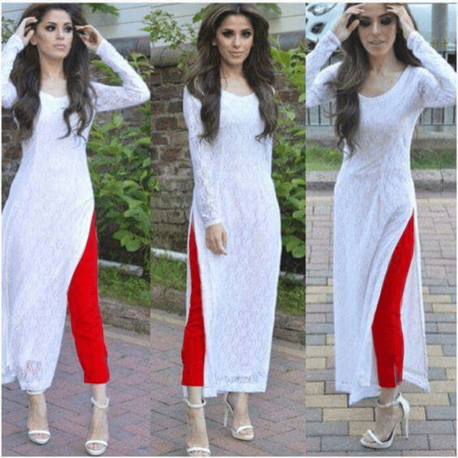 Image result for white suit with red bottom and dupatta