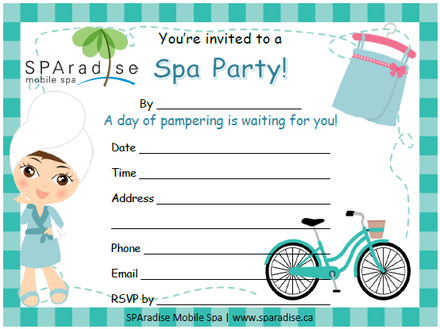 Free Printable Spa Party Invitation by SPAradise Mobile Spa – Printable Spa Party Invitations