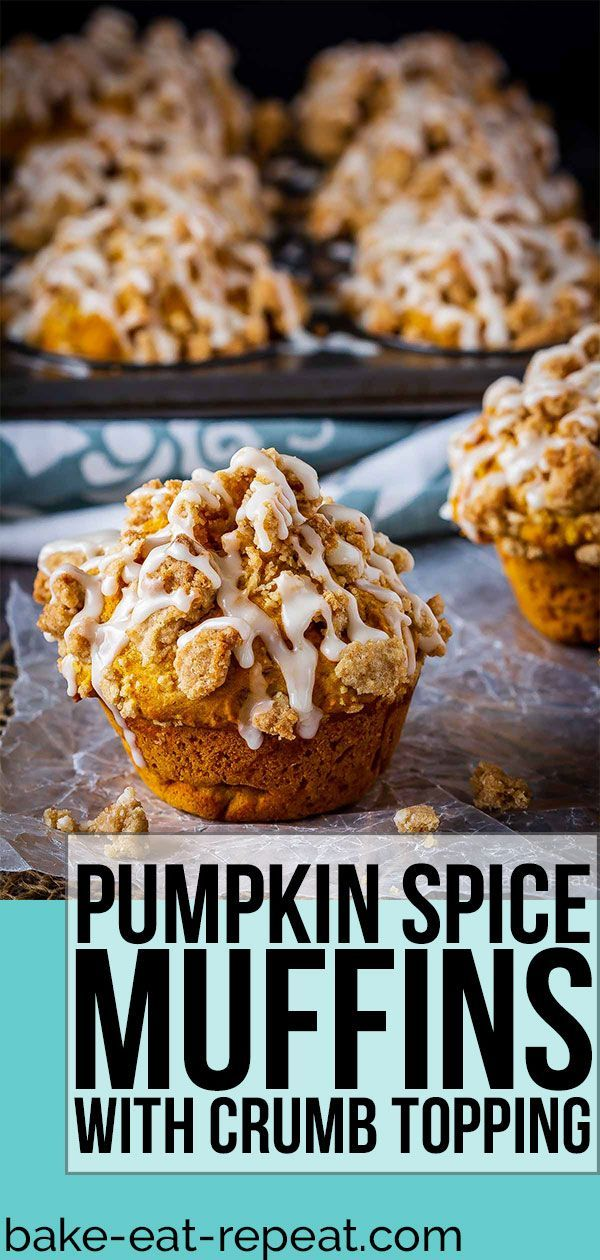 These bakery style pumpkin spice muffins are delicious on their own - but add that crumb topping and drizzle them with a maple glaze and they're amazing! #PumpkinSpice #pumpkin #muffins #CrumbTopping #pumpkinmuffins