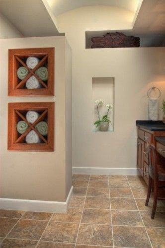 Creative Idea For Towel Storage A Rolled Up Towell Is 14 Long And 17 In Diameter Then Possibly Put Small Bathroom Decor Master Bath Remodel Bath Remodel
