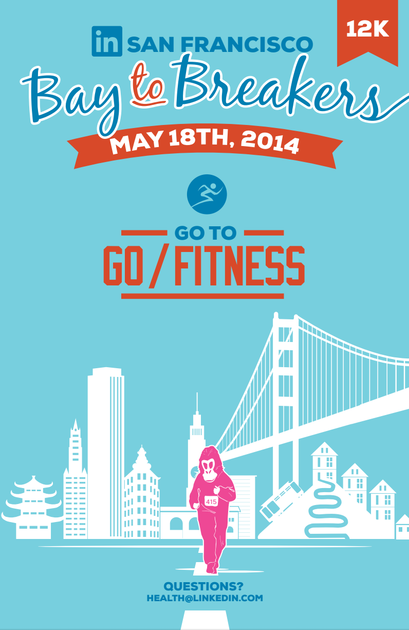 Poster design health - Bay To Breakers Poster For The Linkedin Health Wellness Program