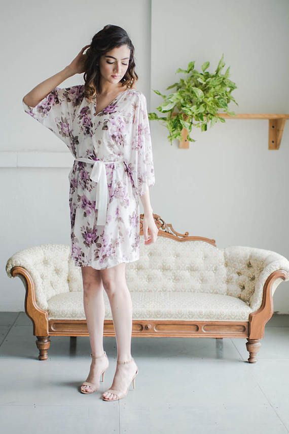 Lilac Floral Print Robe  French Lilac  Robe  49054f59d