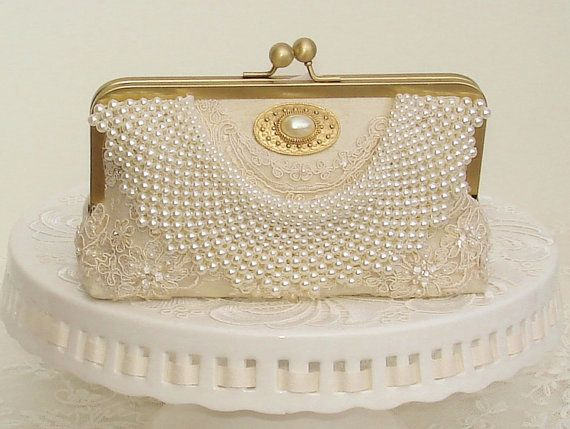 Elegant Wedding Ivory Bag Pearl By Peevintagebags