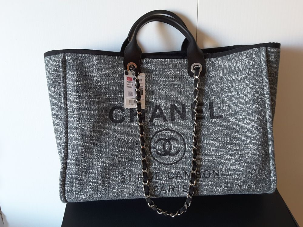 7002577933ca NWT Chanel Deauville Canvas Grand Grey Large Shopper Bag 2018  CHANEL   ShoulderBag