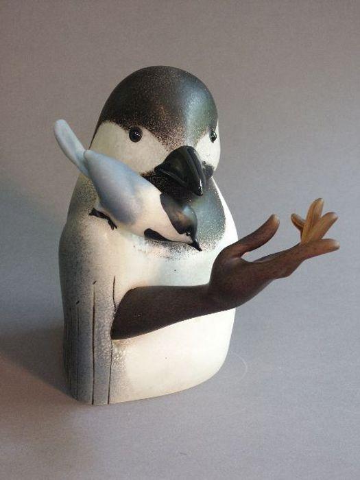 sculpture, chickadee. artist ross richmond