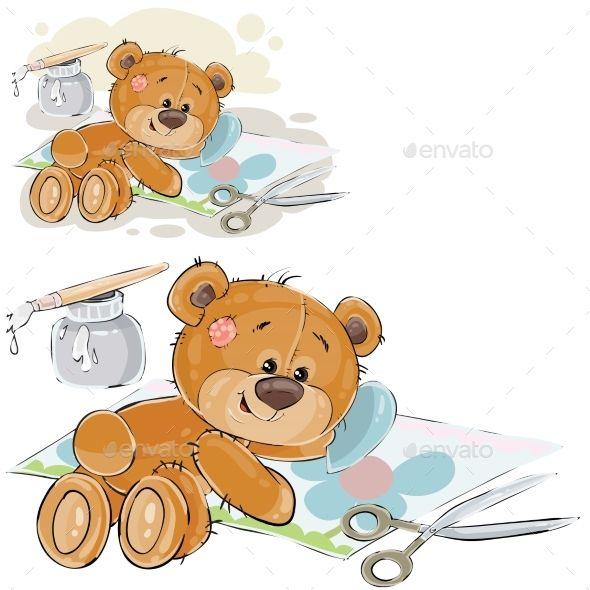Vector Illustration Of A Brown Teddy Bear Glues Teddy Bear Clipart Bear Cartoon Teddy Bear