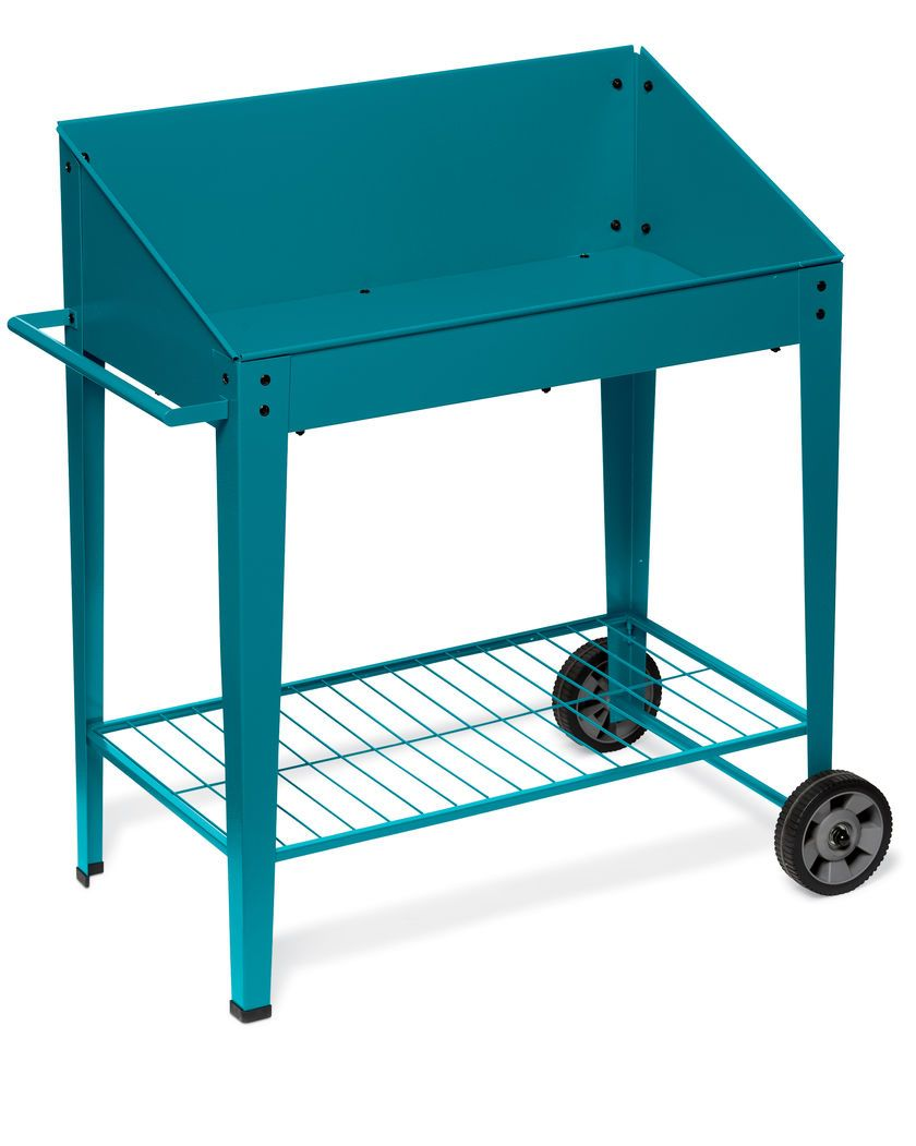 Demeter Metal Potting Bench With Wheels Mobile
