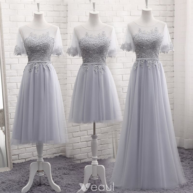 b44a9945369 Chic   Beautiful Grey See-through Summer Bridesmaid Dresses 2018 A-Line   Princess  Scoop Neck Short Sleeve Appliques Lace Sash Ruffle Backless Wedding Party  ...