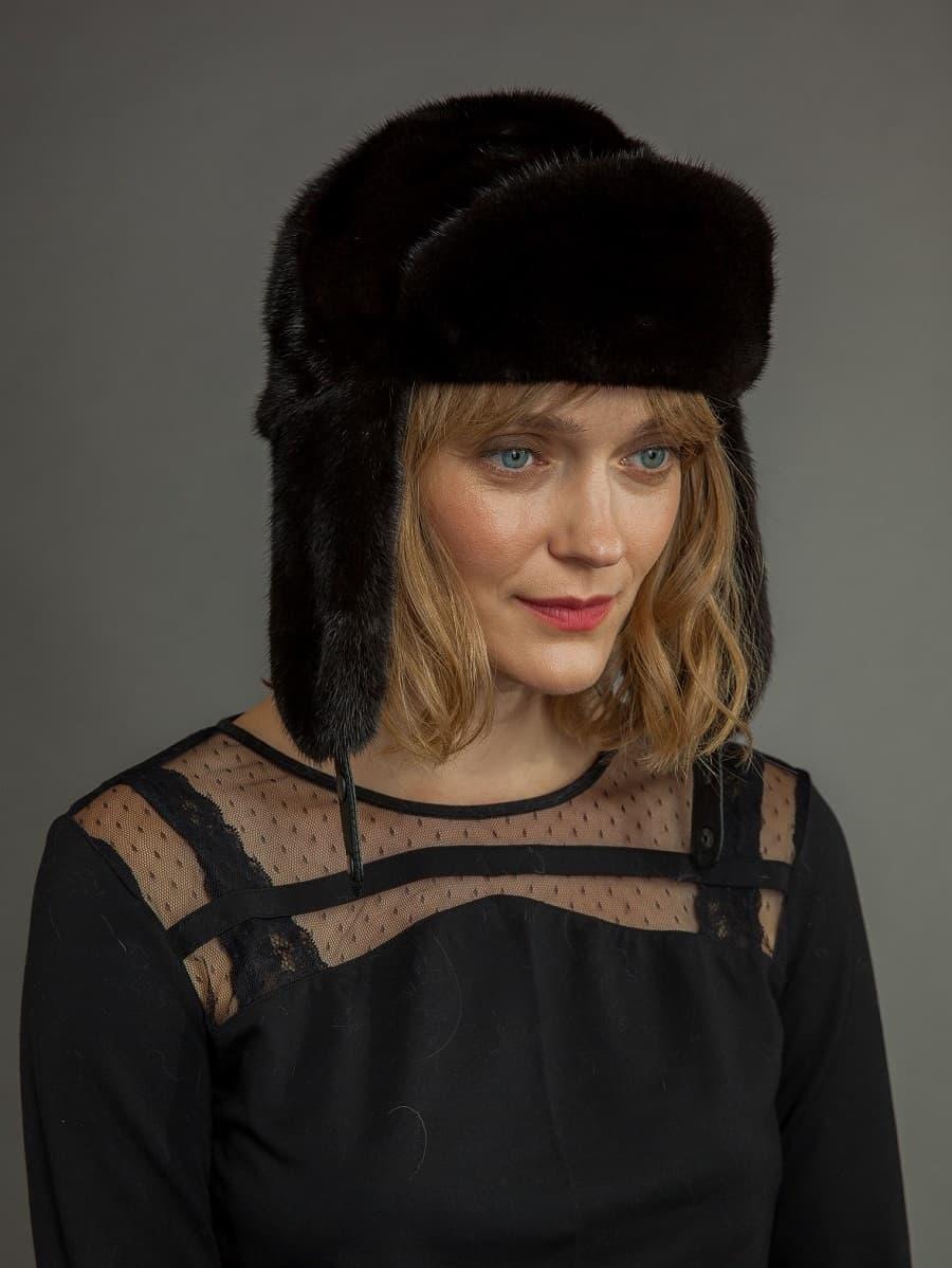 Beige Mink Full Fur Russian Ushanka Hat Nordfur Ushanka Hats Mink Fur