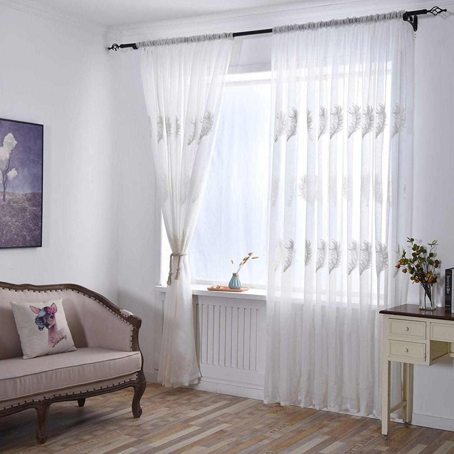 Modern Feather Embroidered Sheer Curtains Cotton Linen Grommet Curtains For Bedroom 96 Inches Long Rod Pocket 2 Panels Curtains Sheer Curtains Grommet Curtains