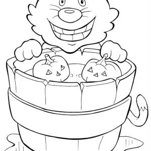 halloween day smiling cat and pumpkins on halloween day coloring page smiling cat and - Cheshire Cat Smile Coloring Pages