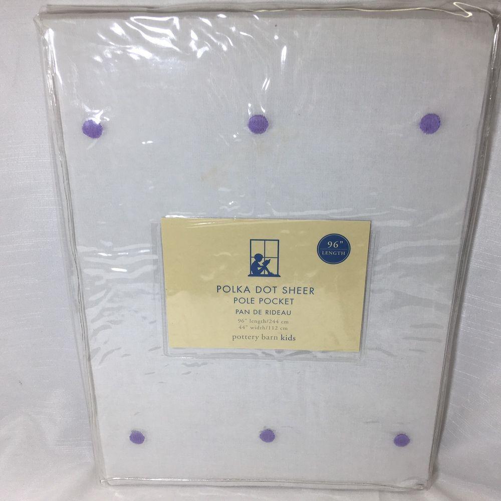 Purple polka dot curtains - Pottery Barn Kids Sheer Curtain White Purple Polka Dot Pole Pocket Top Window
