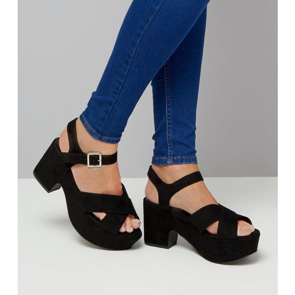 037d37ce3654 Wide Fit Black Suedette Platform Block Heels ( 47) ❤ liked on Polyvore  featuring shoes