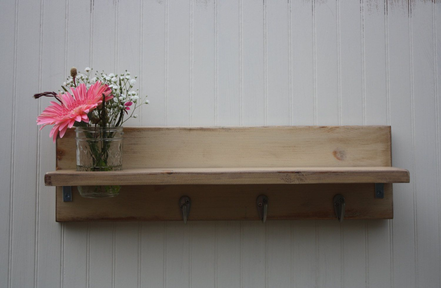 Wall shelf with hooks and mason jar vase or planter whitewashed wood