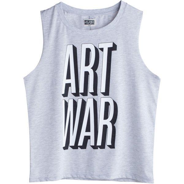 Free art war tee Grey Light ❤ liked on Polyvore featuring tops, shirts, tank tops, t-shirts, gray top, organic cotton shirts, grey top, grey shirt and mtwtfss weekday