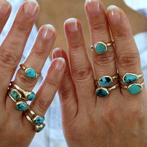 Boho Ringe, Türkis, Dezember Birthstone Ring, Türkis Nugget Ring ...