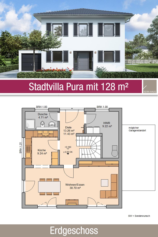 Stadtvilla Grundriss 128 m² 4 Zimmer Erdgeschoss